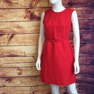 Tory Burch Cherry Red Textured Fit & Flare Dress